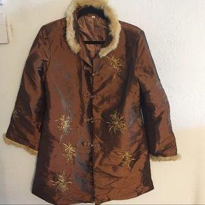 Jackets & Blazers - Long Chinese Gold Bronze Faux Fur Coat Size XL